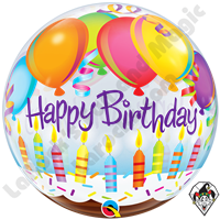 22 Inch Birthday Balloons & Candles Bubble Qualatex 1ct