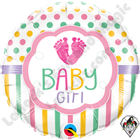 Qualatex 18 Inch Round Baby Girl Lo(feet)e Foil Balloon