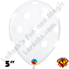 Qualatex 5 Inch Round Big Polka Dot Diamond Clear White Dots Balloons 100CT