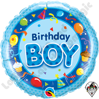 Qualatex 18 Inch Round Birthday Boy Blue Foil Balloon 1ct