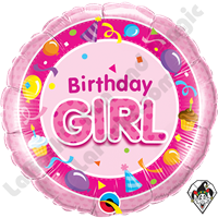 Qualatex 18 Inch Round Birthday Girl Pink Foil Balloon 1ct