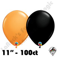 11 Inch Round Assortment Standard Orange And Onyx Black Balloon Qualatex 100ct