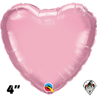 4 Inch Heart Pearl Pink Foil Balloon Qualatex 1ct
