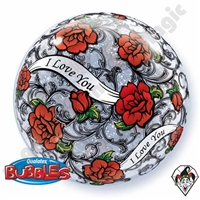Qualatex 22 Inch I Love Red Rose Bubble 1ct