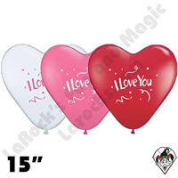15 Inch Heart Assortment I Love You Confetti Love Balloon Qualatex 50ct