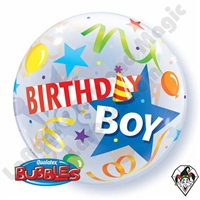 22 Inch Birthday Boy Party Hat Bubble Balloon Qualatex 1ct