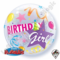 22 Inch Birthday Girl Party Hat Bubble Balloon Qualatex 1ct
