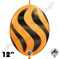 Qualatex 12 Inch Quick Link Wavy Stripe Orange/Black Spray 50ct