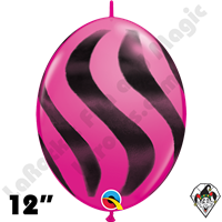 Qualatex 12 Inch Quick Link Wavy Stripe Wild Berry/Black Spray 50ct
