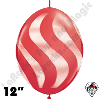 Qualatex 12 Inch Quick Link Wavy Stripe Red/White Spray 50ct