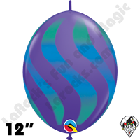Qualatex 12 Inch Quick Link Wavy Stripe Purple Violet/Blue Green Spray 50ct
