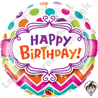 Qualatex 18 Inch Round Birthday Chevron Dots Foil Balloon