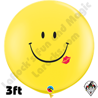 3 Foot Round A Smile & A Kiss Balloons Qualatex 2ct