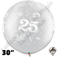 Qualatex 30 Inch Round 25-A-Round Silver Balloons 2ct aka 3ft