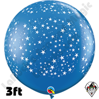 Qualatex 3 Foot Round Stars-A-Round Sapphire Blue Balloons 2ct