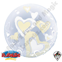 24 Inch White & Ivory Floating Hearts Double Bubble Qualatex 1ct