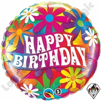 18 Inch Birthday Psychedelic Daisies Foil Balloon