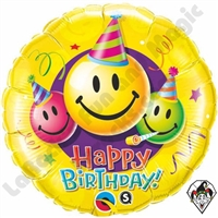 18 Inch Birthday Smiley Faces Foil Balloons
