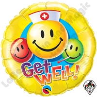 36 Inch Round Get Well Smiley Faces Foil Balloon Qualatex 1ct