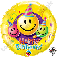 36 Inch Round Birthday Smiley Faces Foil Balloon Qualatex 1ct