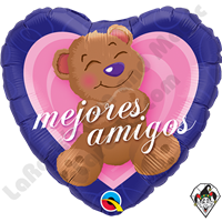 Qualatex 09 Inch Heart Mejores Amigos Bear Foil Balloon 1ct
