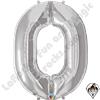 Qualatex 34 Inch Number Zero Silver Foil Balloon 1ct