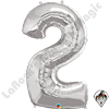 Qualatex 34 Inch Number Two Silver Foil Balloon 1ct