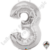 Qualatex 34 Inch Number Three Silver Foil Balloon 1ct
