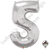 Qualatex 34 Inch Number Five Silver Foil Balloon 1ct