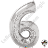 Qualatex 34 Inch Number Six Silver Foil Balloon 1ct