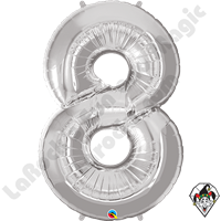 Qualatex 34 Inch Number Eight Silver Foil Balloon 1ct