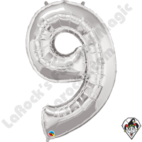 Qualatex 34 Inch Number Nine Silver Foil Balloon 1ct
