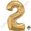 Qualatex 34 Inch Number Two Gold Foil Balloon 1ct