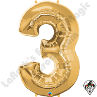 Qualatex 34 Inch Number Three Gold Foil Balloon 1ct