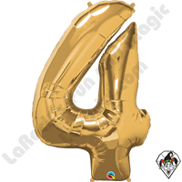 Qualatex 34 Inch Number Four Gold Foil Balloon 1ct