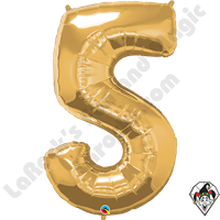 Qualatex 34 Inch Number Five Gold Foil Balloon 1ct