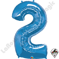 Qualatex 34 Inch Number Two Sapphire Blue Foil Balloon 1ct