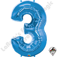 Qualatex 34 Inch Number Three Sapphire Blue Foil Balloon 1ct