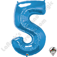 Qualatex 34 Inch Number Five Sapphire Blue Foil Balloon 1ct