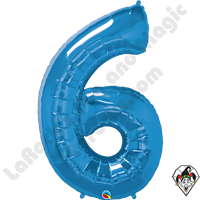 Qualatex 34 Inch Number Six Sapphire Blue Foil Balloon 1ct