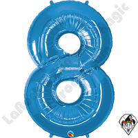 Qualatex 34 Inch Number Eight Sapphire Blue Foil Balloon 1ct