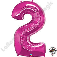 Qualatex 34 Inch Number Two Magenta Foil Balloon 1ct
