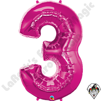 Qualatex 34 Inch Number Three Magenta Foil Balloon 1ct