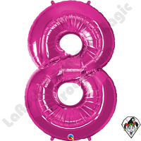 Qualatex 34 Inch Number Eight Magenta Foil Balloon 1ct