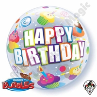 22 Inch Birthday Colorful Cupcakes Bubble Balloon Qualatex 1ct