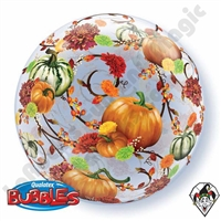 Qualatex 22 Inch Autumn Floral & Pumpkins Bubble Balloon 1ct