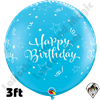 Qualatex 3 Foot Round Birthday Shining Star Robin's Egg Blue Balloons 2ct