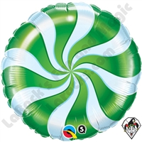 Qualatex 18 Inch Round Candy Swirl Green Foil Balloon 1ct