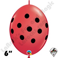 Qualatex 6 inch Quick Link Red Big Polka Dot Balloons 50ct