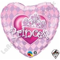 09 Inch Heart Princess Tiara Foil Balloon Qualatex 1ct